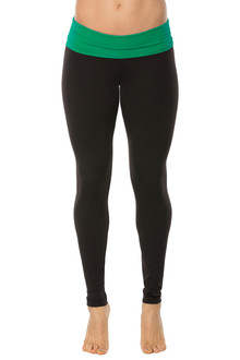 Rolldown Leggings - EMERALD ON BLACK - FINAL SALE - XSMALL (1 AVAILABLE)