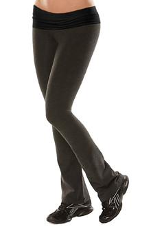 "Cotton Rolldown Pants - bootleg - BLACK ON DARK GRAY - FINAL SALE - MEDIUM 33.5"" INSEAM (1 AVAILABLE)"
