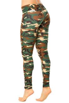 CAMOUFLAGE GREEN SPORT BAND LEGGINGS