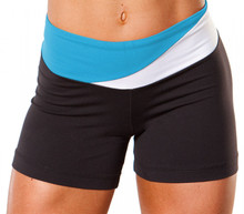 "Florence Band Shorts - BRIGHT TURQ & WHITE ON BLACK - FINAL SALE - SMALL - 2"" INSEAM - 10"" SIDES (1 AVAILABLE)"