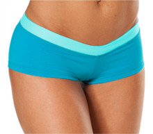 "Rio Shorts - Light Turquoise on Bright Turquoise - Final Sale - Small - Inseam 1"" - Sides 3.25"" (1 AVAILABLE)"