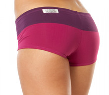 "Kiss Shorts - EGGPLANT ON BERRY - FINAL SALE - MEDIUM - INSEAM 2"" - SIDES 7.25"" (1 AVAILABLE)"