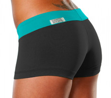 "Mini Band Mini Shorts - TEAL ON BLACK - FINAL SALE - SMALL - INSEAM 1.5"" - SIDES 8"" (1 AVAILABLE)"