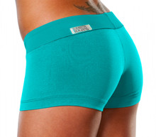 "Mini Band Mini Shorts - TEAL - FINAL SALE - SMALL - INSEAM 2.25"" - SIDES 8.75"" (1 AVAILABLE)"