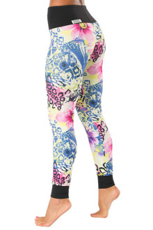 Flower High Waist Cuff Leggings