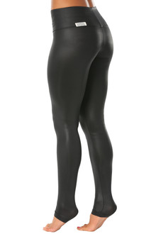 High Waist Wet Black Leggings (Under Heel)