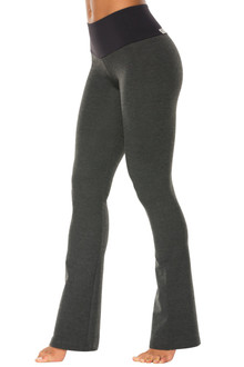 Dark Gray Cotton High Waist Sport Band Pants - bootleg