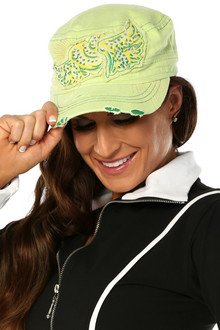 Cotton Lime Hat with Rhinestones - FINAL SALE  (1 AVAILABLE)