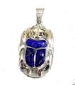 Egyptian Silver scarab w/ Lapis Stone pendant