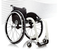 Progeo Joker. A very successful and stylish Italian designed rigid frame wheelchair with ultra light aluminium alloy or carbon fibre elliptical frame tubes. Linear and aggressive, Joker uses innovative technical solutions to deliver excellent handling characteristics.