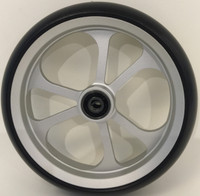 """Casters Soft Roll 6"""" x 1.5"""" Black Tyre. These have a great silver anodised finish. Soft Roll . Price is per Caster not pairs."""