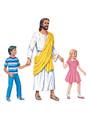 Jesus standing with 2 children