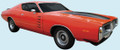 1973-74 Charger Rallye Mid Body Side & Decklid Stripe Kit Matte Black