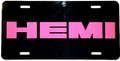 License Plate Gloss Black w/Hemi Panther Pink