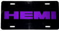 License Plate Gloss Black w/Hemi Plum Crazy Purple