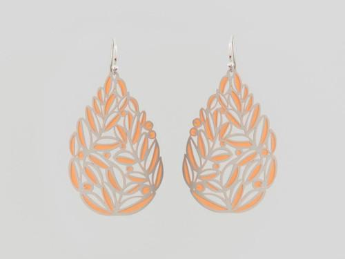 Two tone large multi leaf earrings