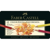 Faber-Castell Polychromos Colour Pencils Tin of 12 -CLEARANCE SALE!!  While stocks last