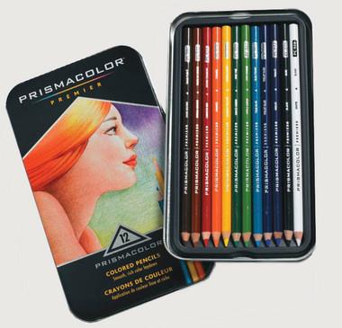 Prismacolour Premier Coloured Pencils - Set 12 with special bonus of 2 Art Stix.