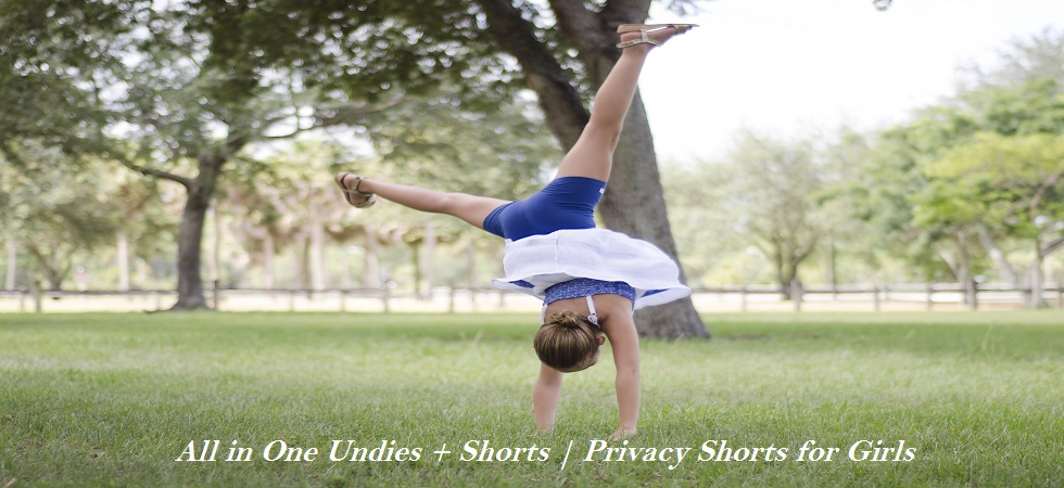 girls navy blue cotton knit shorts for wearing under dresses and skirts, undieshorts
