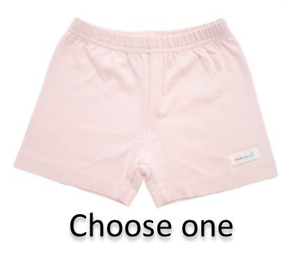 girls pink soft knit cotton under shorts for wearing under skirts and dresses