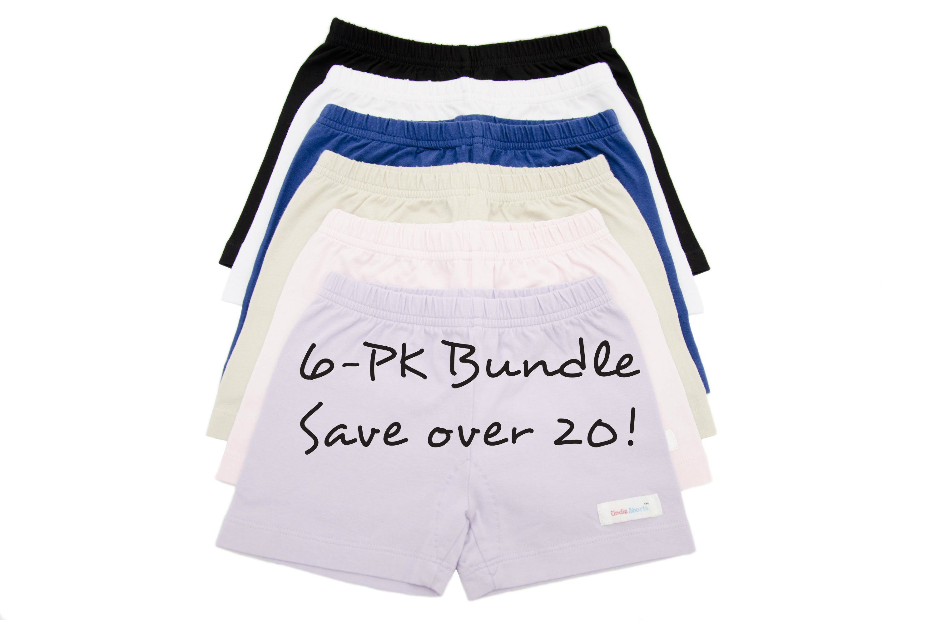 girls cotton knit modesty under shorts for wearing under dresses 6-pk bundle