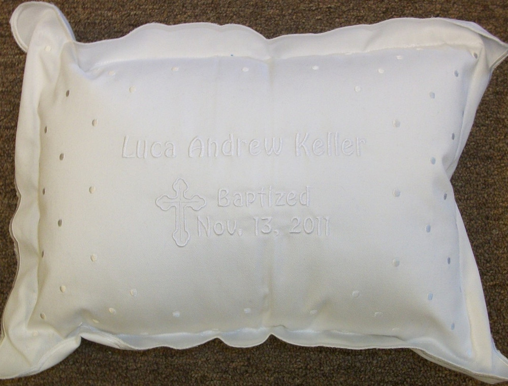 Baptism Pillow with Embroidery