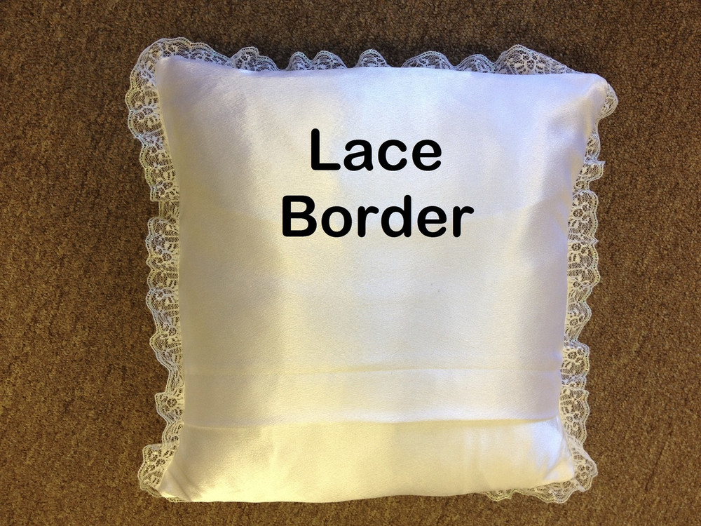Wedding Pillow - Heart with Ribbon Lace Border