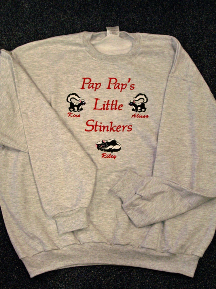 Grandpa Sweatshirt - Little Stinkers Design on Sweatshirt