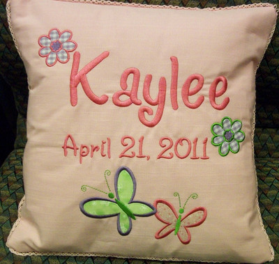 Baby/Child Pillow - Butterflies & Flowers Design