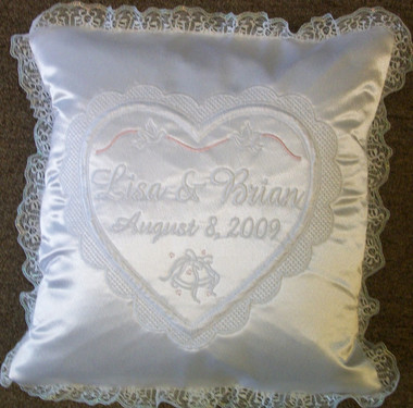 Wedding Pillow - Heart with Ribbon Design