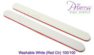 Princess Nail Files, 50 per pack - Washable White/Red, Grit: 100/100