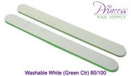 Princess Nail Files, 50 per pack - Washable White/Green, Grit: 80/100