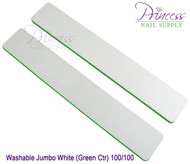 Princess Nail Files, 50 per pack - Washable Jumbo White/Green, Grit: 80/100
