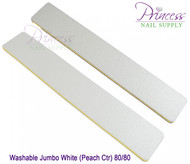 Princess Nail Files, 50 per pack - Washable Jumbo White/Peach, Grit: 80/80