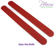 Princess Nail Files, 50 per pack - Mylar Red, Grit: 80/80