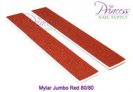 Princess Nail Files, 50 per pack - Mylar Jumbo Red, Grit: 80/80