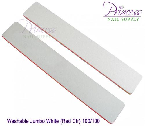 Princess Nail Files, 50 per pack - Washable  Jumbo White/Red, Grit: 100/100