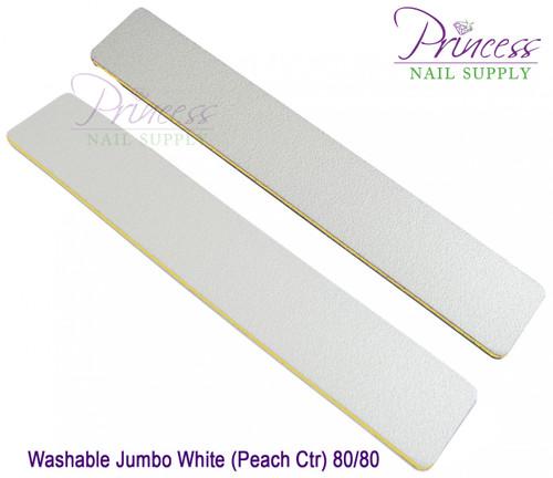 Princess Nail Files, 50 per pack - Washable Jumbo White/Peach, Grit: 80/80