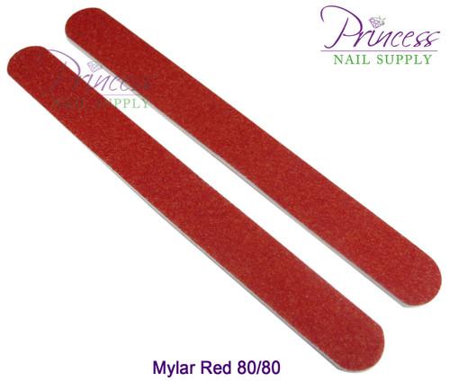 Princess Nail Files, 50 per pack - Mylar Red, Grit: 80/80
