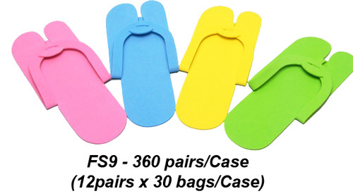 Notched Toe Foam Pedicure Slippers, case 360 pairs FS9 (Fold Type)