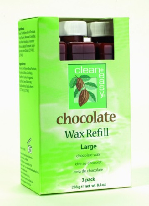 Clean+ Easy Chocolate Wax Refill - Large Cartridges, 3 Pack