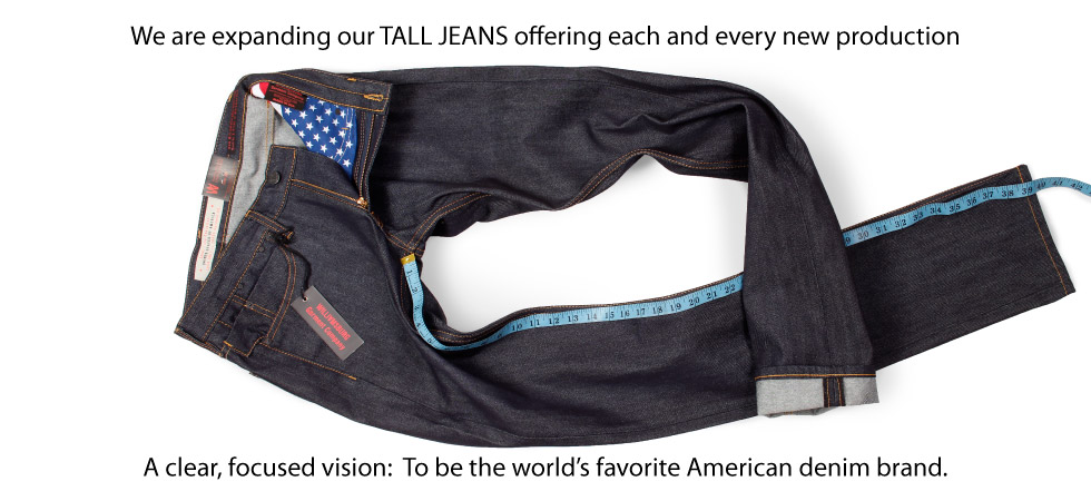 """Tall Men's 38"""" inseam raw jeans made in USA"""