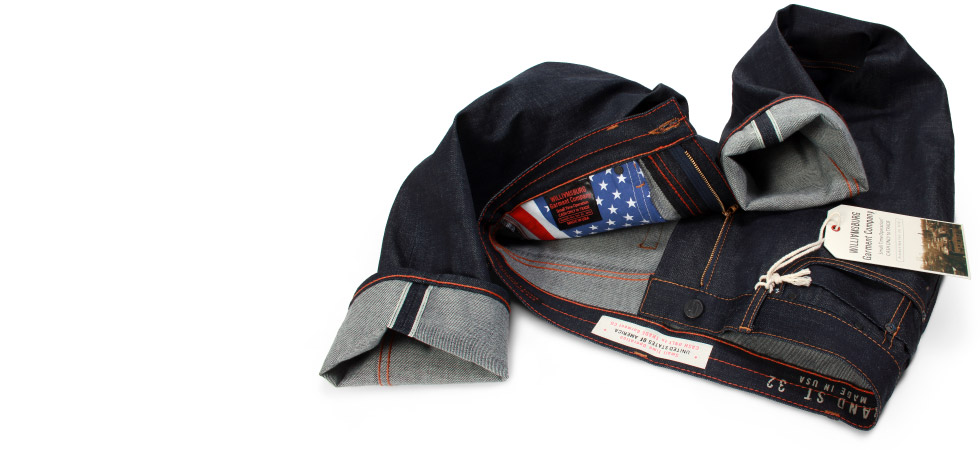 Raw Selvage (Selvedge) jeans for men with American Flag pocket bag