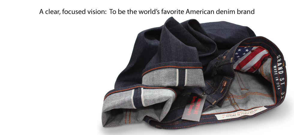 American made raw denim selvedge jeans by Williamsburg Garment Company