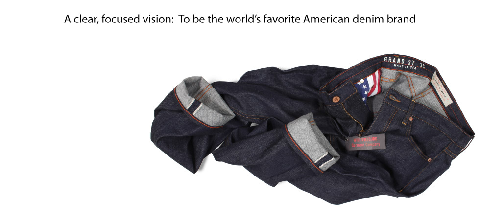 Raw Denim Selvedge Jeans made in USA with American flag pocket