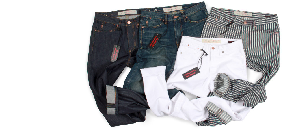 Mens Raw Denim, Premium Washed, White and Engineer Stripe Jeans Jeans