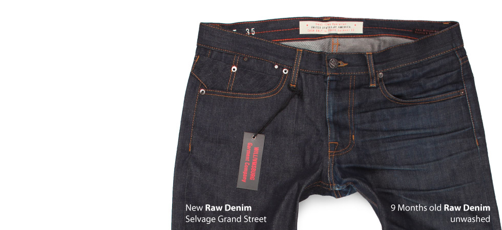 photo shows how raw denim ages and fades