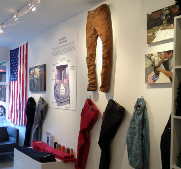 Inside NYC jeans store by Williamsburg Garment Co., Brooklyn based denim brand & retailer.