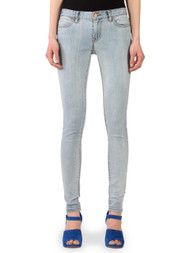 Women's Skinny Jeans in light blue bleached stonewash.
