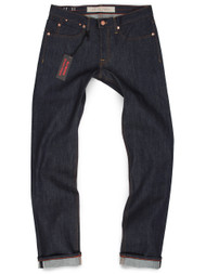 Raw denim stretch selvage jeans for men, made in USA. Produced in American made denim.